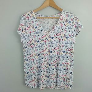 Gap Whimsy Floral V Neck Short Sleeve Tee